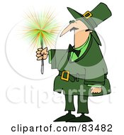 Royalty Free RF Clipart Illustration Of A Leprechaun Guy Holding A Sparkler by Dennis Cox