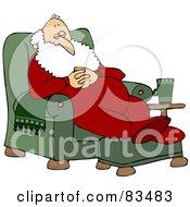 Royalty Free RF Clipart Illustration Of Santa Slumbering In A Comfy Green Recliner