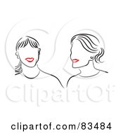 Royalty Free RF Clipart Illustration Of A Line Drawing Of Red Lipped Female Friends Smiling by Prawny