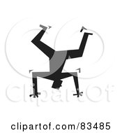Royalty Free RF Clipart Illustration Of A Silhouetted Man Balancing Upside Down On His Hands