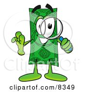 Clipart Picture Of A Dollar Bill Mascot Cartoon Character Looking Through A Magnifying Glass