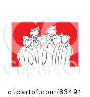 Royalty Free RF Clipart Illustration Of A Group Of Red Lipped Business Men And Women In A Group Over Red
