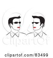 Royalty Free RF Clipart Illustration Of Two Line Drawn Red Lipped Business Men Wearing Shades