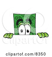 Clipart Picture Of A Dollar Bill Mascot Cartoon Character Peeking Over A Surface by Toons4Biz