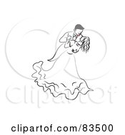 Royalty Free RF Clipart Illustration Of A Dancing Line Drawn Bride And Groom With Red Lips