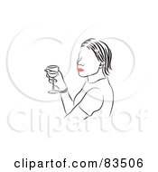 Royalty Free RF Clipart Illustration Of A Line Drawing Of A Red Lipped Woman Holding A Glass Of Wine by Prawny