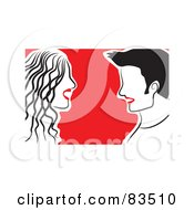 Royalty Free RF Clipart Illustration Of A Happy Red Lipped Couple Facing Each Other