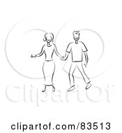 Royalty Free RF Clipart Illustration Of A Black And White Line Drawn Couple Holding Hands