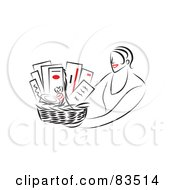Royalty Free RF Clipart Illustration Of A Line Drawing Of A Red Lipped Woman Holding Out A Gift Basket by Prawny