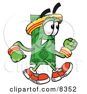 Clipart Picture Of A Dollar Bill Mascot Cartoon Character Speed Walking Or Jogging