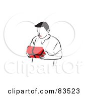 Line Drawn Man With Red Lips Holding A Present