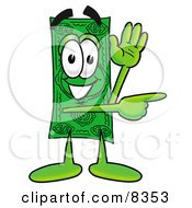 Clipart Picture Of A Dollar Bill Mascot Cartoon Character Waving And Pointing