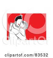 Royalty Free RF Clipart Illustration Of A Happy Red Lipped Couple Hugging