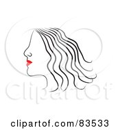Royalty Free RF Clipart Illustration Of A Line Drawing Of A Red Lipped Woman In Profile Version 1