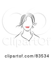 Royalty Free RF Clipart Illustration Of A Line Drawing Of A Red Lipped Womans Face Version 1