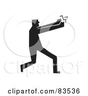 Royalty Free RF Clipart Illustration Of A Silhouetted Man Holding On