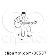 Royalty Free RF Clipart Illustration Of A Line Drawn Man With Red Lips Playing A Guitar by Prawny