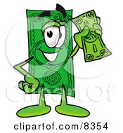 Dollar Bill Mascot Cartoon Character Holding A Dollar Bill by Toons4Biz