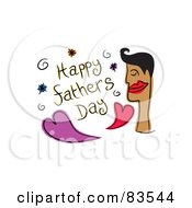 Royalty Free RF Clipart Illustration Of A Happy Fathers Day Greeting With Hearts And A Mans Face by Prawny