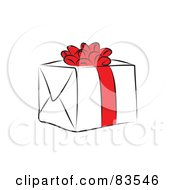Line Drawn Present With A Red Bow And Ribbon