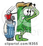 Clipart Picture Of A Dollar Bill Mascot Cartoon Character Swinging His Golf Club While Golfing