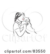 Royalty Free RF Clipart Illustration Of A Line Drawing Of A Red Lipped Woman Hugging Her Dog