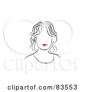 Royalty Free RF Clipart Illustration Of A Line Drawing Of A Red Lipped Womans Face Version 3