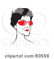 Royalty Free RF Clipart Illustration Of A Line Drawn Lady Wearing Red Shades