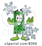 Clipart Picture Of A Dollar Bill Mascot Cartoon Character With Three Snowflakes In Winter
