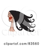 Royalty Free RF Clip Art Illustration Of A Smiling Woman With Long Black Hair by Prawny
