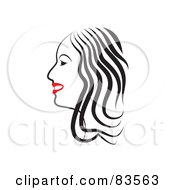 Royalty Free RF Clipart Illustration Of A Line Drawing Of A Red Lipped Woman In Profile Version 2 by Prawny