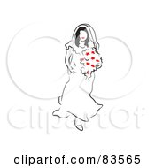 Line Drawing Bride Walking Down The Aisle With A Bouquet Of Red Flowers