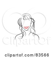 Royalty Free RF Clipart Illustration Of A Line Drawing Of A Red Lipped Womans Face Version 2