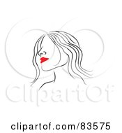 Royalty Free RF Clipart Illustration Of A Line Drawing Of A Red Lipped Womans Face Version 4 by Prawny