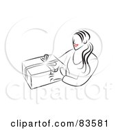 Line Drawing Of A Red Lipped Woman Giving A Gift