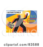 Royalty Free RF Clipart Illustration Of A Silhouetted Traveling Business Man By A Clock