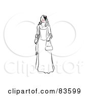 Royalty Free RF Clipart Illustration Of A Line Drawing Of A Red Lipped Woman In A Prom Dress by Prawny