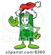 Clipart Picture Of A Dollar Bill Mascot Cartoon Character Wearing A Santa Hat And Waving