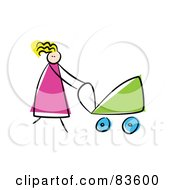 Royalty Free RF Clipart Illustration Of A Blond Stick Mom Walking Her Baby In A Carriage