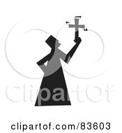 Royalty Free RF Clipart Illustration Of A Black Silhouetted Religious Guy Holding A Cross