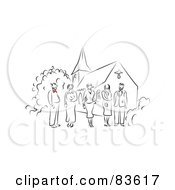 Royalty Free RF Clipart Illustration Of A Line Drawn Wedding Party With Red Accents Standing Outside Of A Church