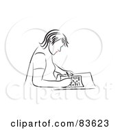 Royalty Free RF Clipart Illustration Of A Line Drawing Of A Red Lipped Woman Writing A Letter by Prawny