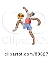 Royalty Free RF Clipart Illustration Of A Man Doing Tricks With A Soccer Ball by Prawny