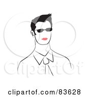 Royalty Free RF Clipart Illustration Of A Line Drawn Man With Red Lips Wearing Shades