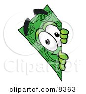 Clipart Picture Of A Dollar Bill Mascot Cartoon Character Peeking Around A Corner