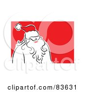Royalty Free RF Clipart Illustration Of A Line Drawn Santa Wearing A Red Hat by Prawny