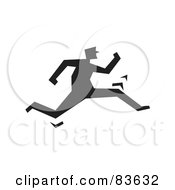 Royalty Free RF Clipart Illustration Of A Black Silhouetted Guy Chasing by Prawny