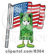 Clipart Picture Of A Dollar Bill Mascot Cartoon Character Pledging Allegiance To An American Flag