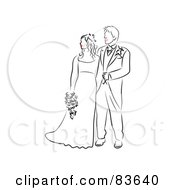 Royalty Free RF Clipart Illustration Of A Line Drawn Bride And Groom Red Lips