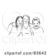 Royalty Free RF Clipart Illustration Of Two Happy Line Drawn Girls And Their Brother by Prawny